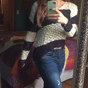 Striped hi-lo sweater